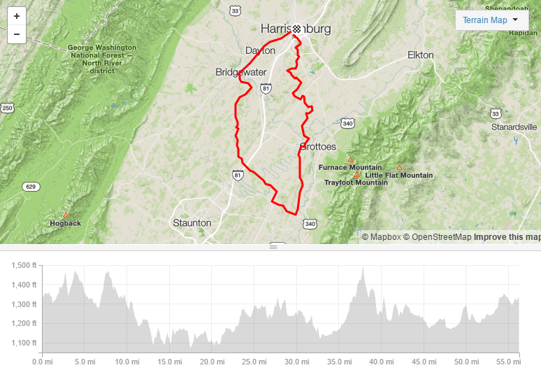 Augusta Triangle - 56.3 miles3,353ft elevationSome gravel