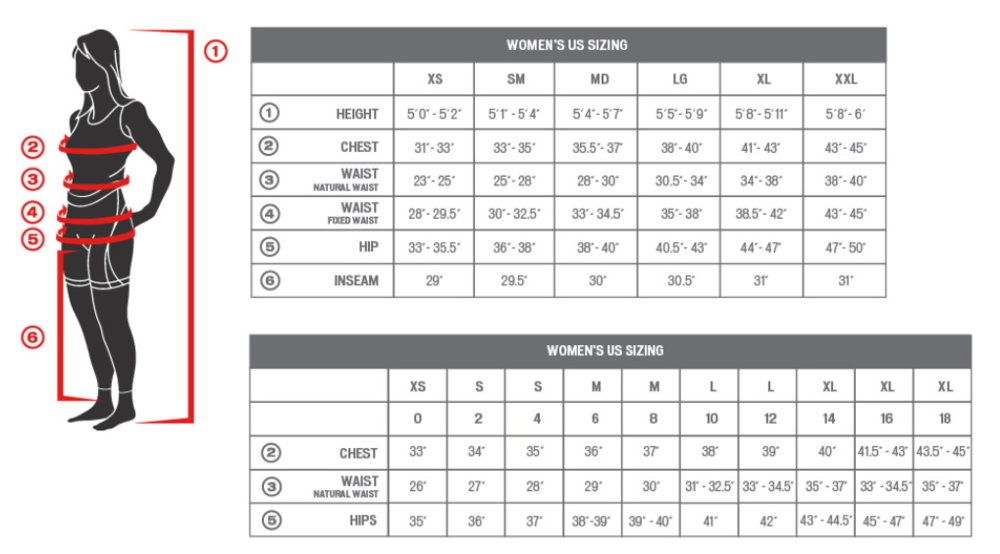 Specialized Clothing, Women's Size Chart