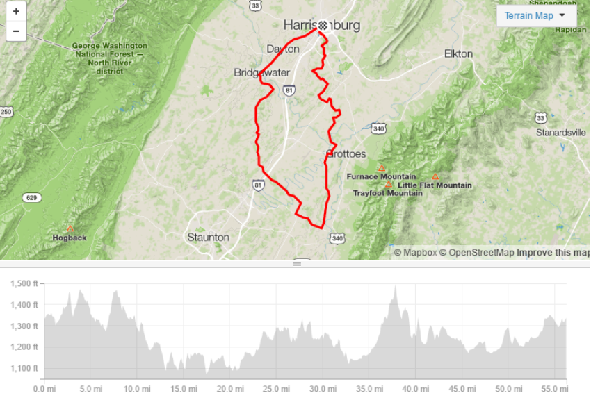 Augusta Triangle - 56.3 Miles/3,353ft Elevation