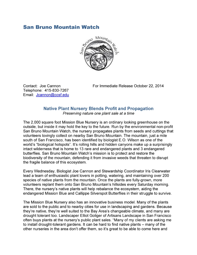Press Release for San Bruno Mountain Watch