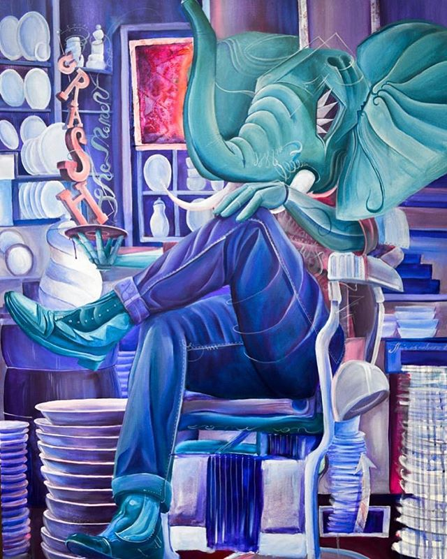 """The porcelain seller"" Acrylic on canvas, 110 x 80 cm, 2015, part of the H'Animalism series, #TomLohner #popsurrealism #culture #contemporaryart #newcontemporary #newcontemporaryart #contemporaryartist #painting #contemporarypainting #contemporaryart #fineart #popculture #popstyle #urbanculture #urbanstyle #artoftheday #artoninstagram #igersaustria #art_spotlight #artlovers #austria #hifructosemagazine #juxtapozmagazine #lowbrowpopsurrealists #portraitart #beautifulbizarremagazine"