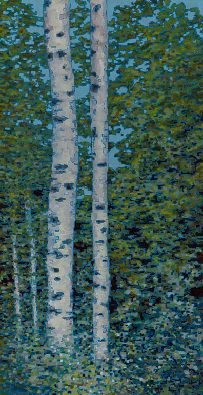 """Birch Trees VIII , Oil on Linen ,22"""" x 42"""", 2012"""