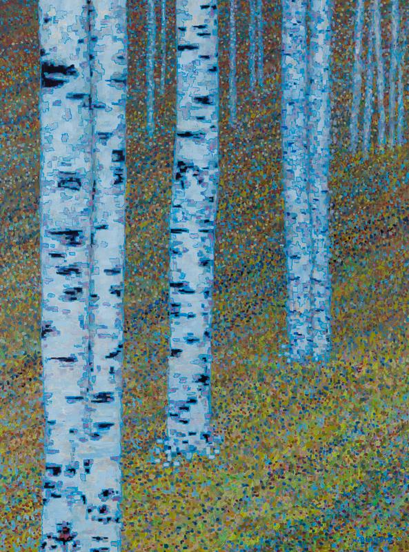 "Birch Trees XIV, Oil on Linen, 30"" X 42"", 2012"