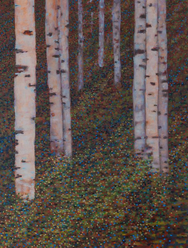 """Birch Trees V: Energy, Oil on Linen, 34"""" x 42"""", 2011"""