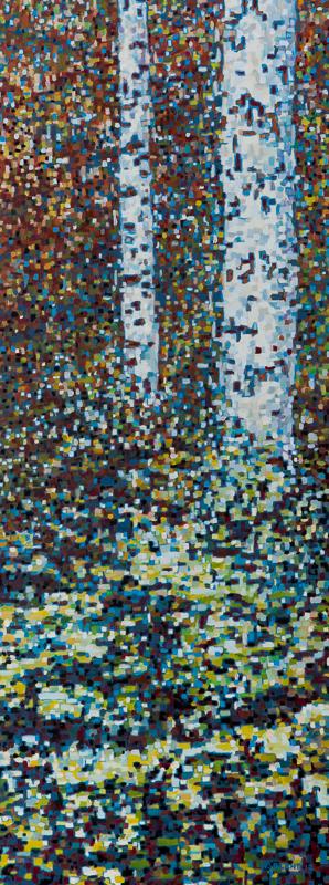 "Birch Trees VI: Pixelated, Oil on Linen, 15"" x 39"", 2012"