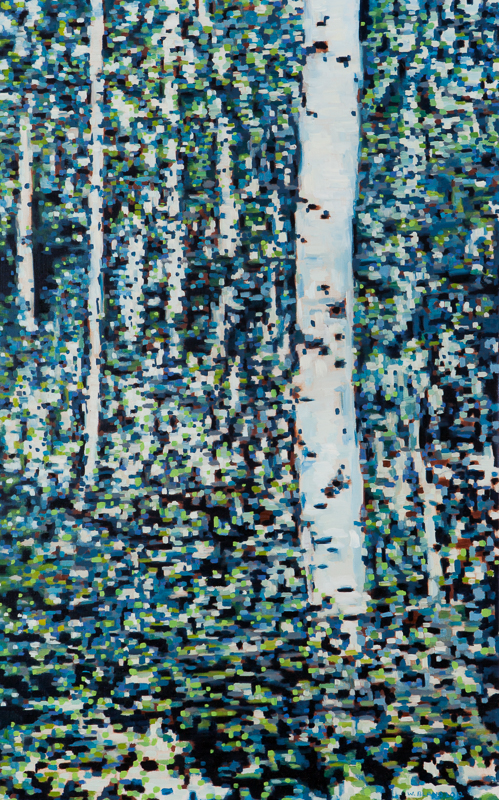 "Birch Trees X: Digital, Oil on Linen, 24"" x 38"", 2012 (SOLD)"