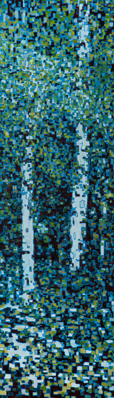 "Digital Birches II, Oil on Linen, 12"" x 40"", 2013"