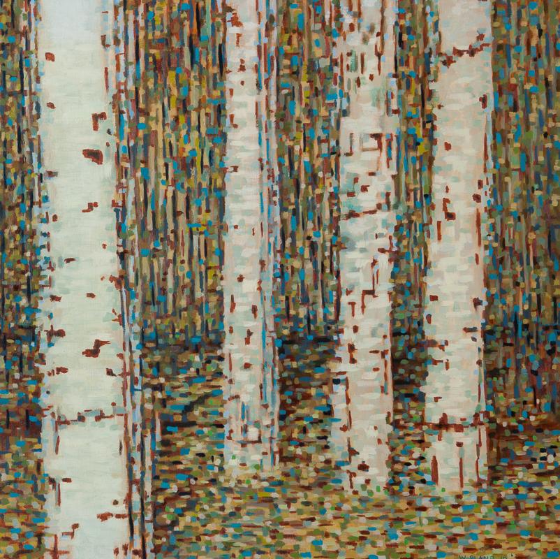 "Birch Trees III: Time Stutter, Oil on Linen, 24"" x 24"", 2010"