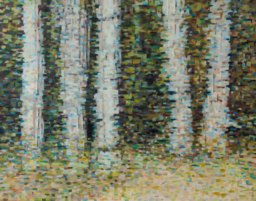"Birch Trees II: Time Stutter, Oil on Linen, 22"" x 28"", 2010"