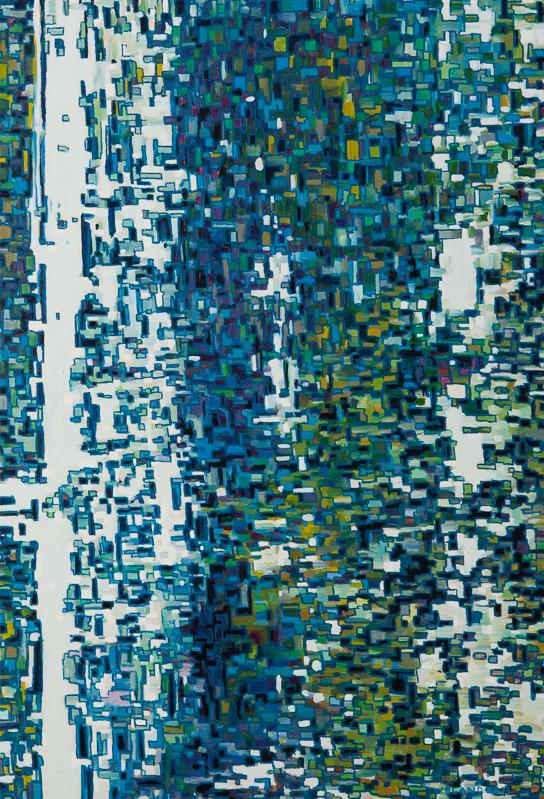 """Birch Forest Distort, Oil on Linen, 16"""" x 32"""", 2013"""