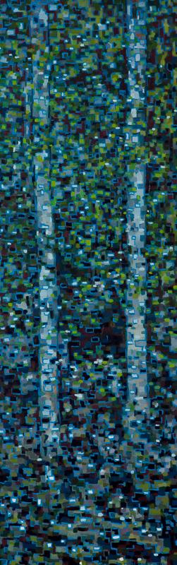"Digital Birches III, Oil on Linen, 12"" x 30"", 2013"