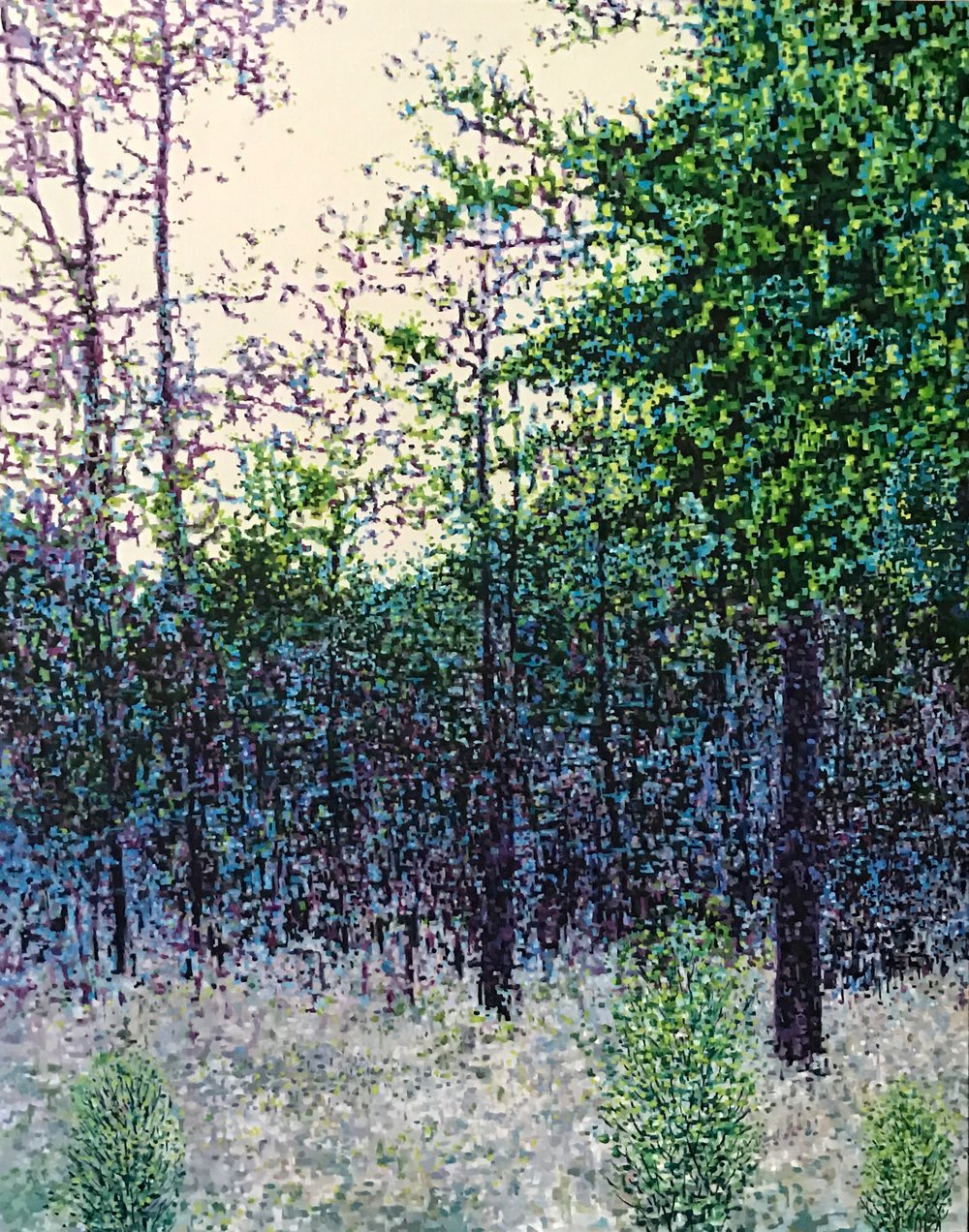 "Digital Forest, Oil on Linen, 26.5"" x 33.5"", 2017"