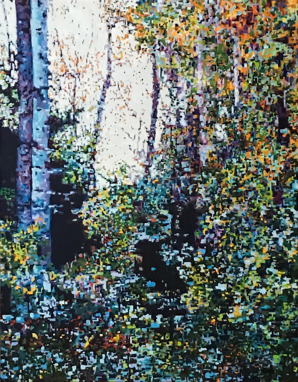"""Digital Forest Scene III, Oil on Linen, 22"""" x 28"""", 2016"""