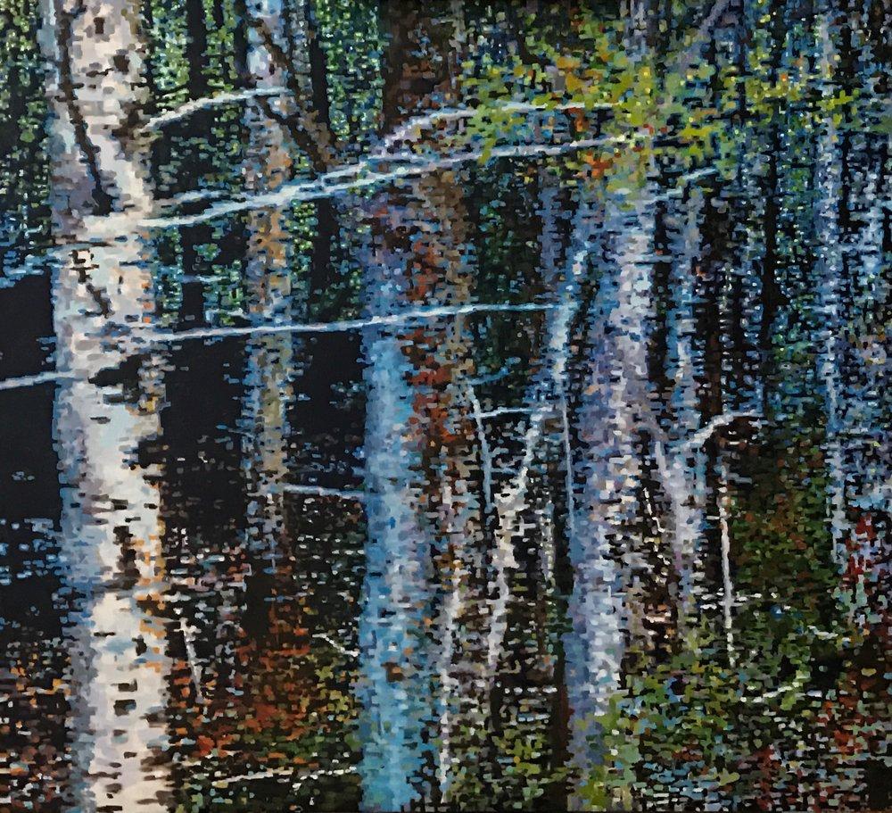 """Digital Forest Scene I, Oil on Linen, 32"""" x 29"""", 2016"""