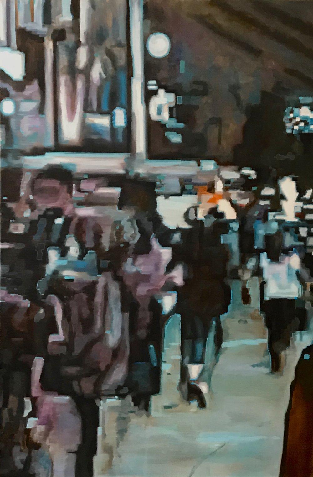 """City Scene, Oil on Linen, 24"""" x 36"""", 2015"""