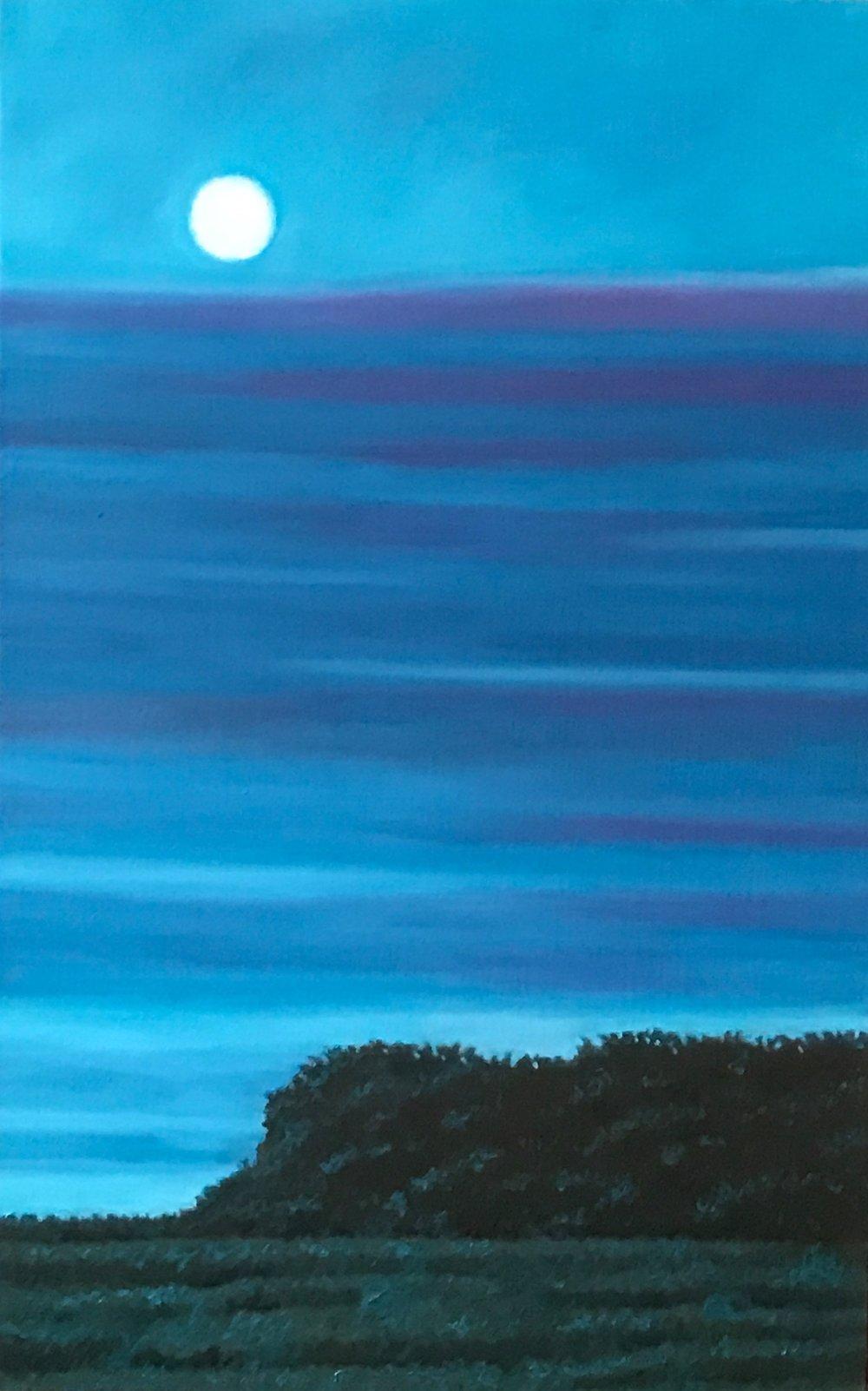 "Moonlit Scene II, Oil on Linen, 14"" x 22"" 2016"