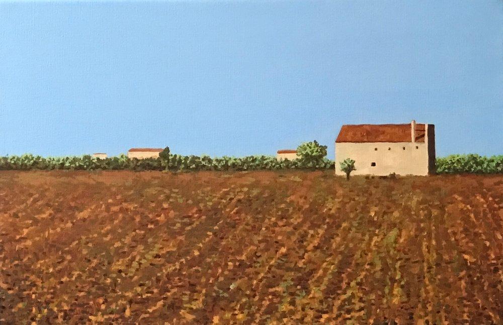 """Apulia Landscape II, Oil on Linen, 12"""" x 18"""", 2015"""