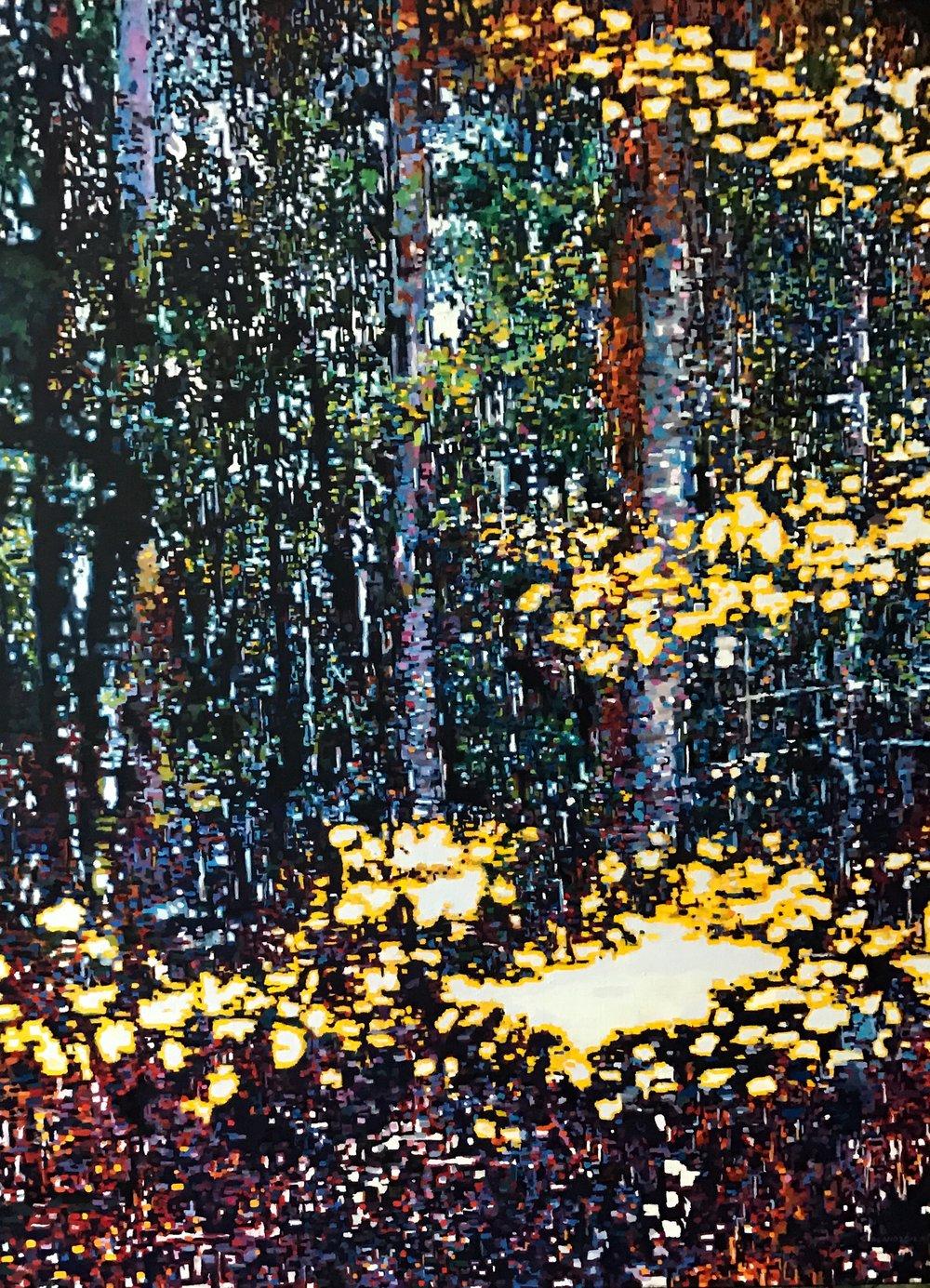"Digital Forest, Oil on Linen, 30"" x 40"", 2016"