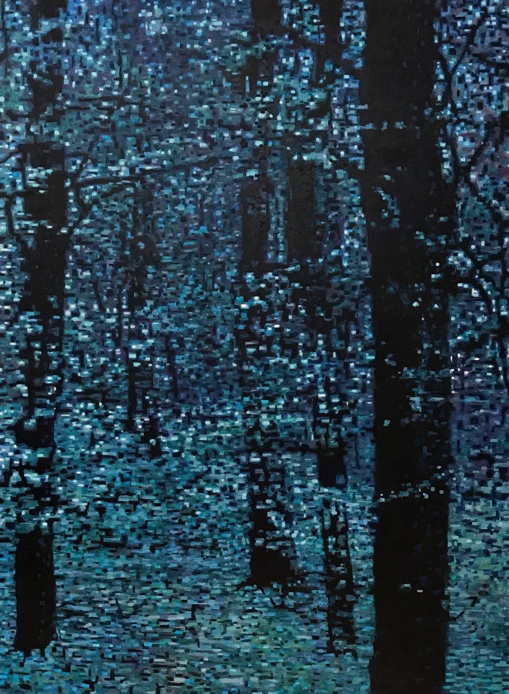 "Forest Moonlight, Oil on Linen, 36"" x 48"", 2014"