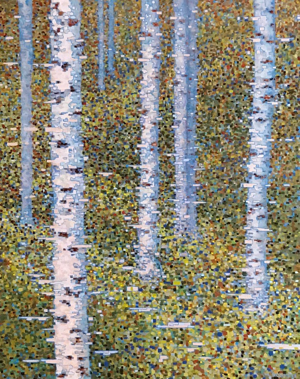 """Digital Forest Scene, Oil on Linen, 29"""" x 36"""" 2011"""