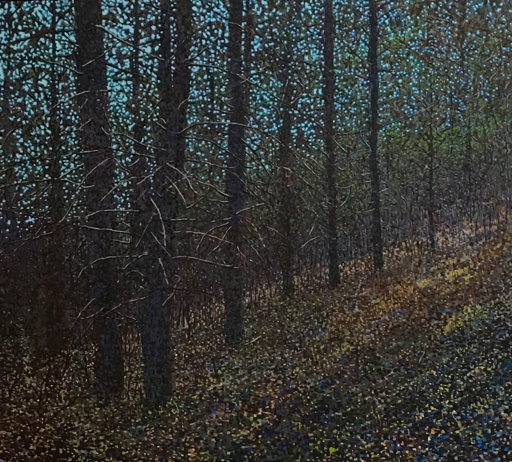 "Forest Slope, Oil on Linen, 38""x 24"", 2016"