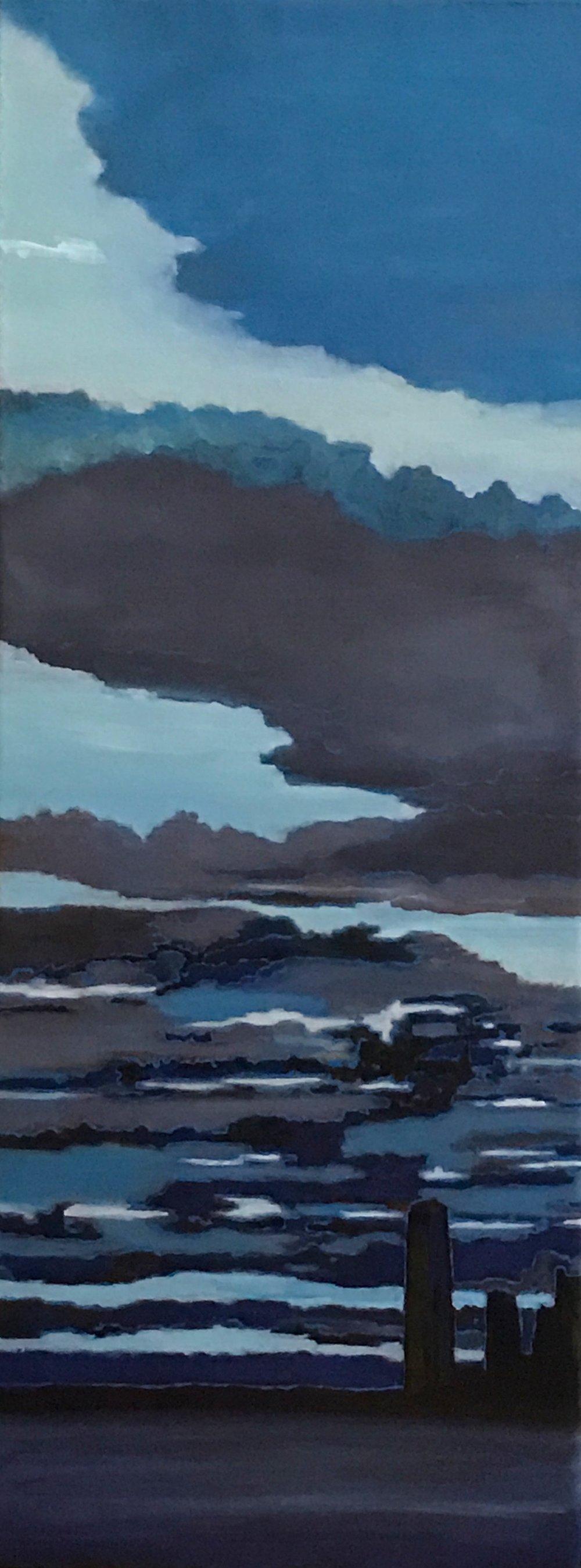 """Hudson River, Oil on Linen, 10"""" x 26"""" 2015 (SOLD)"""