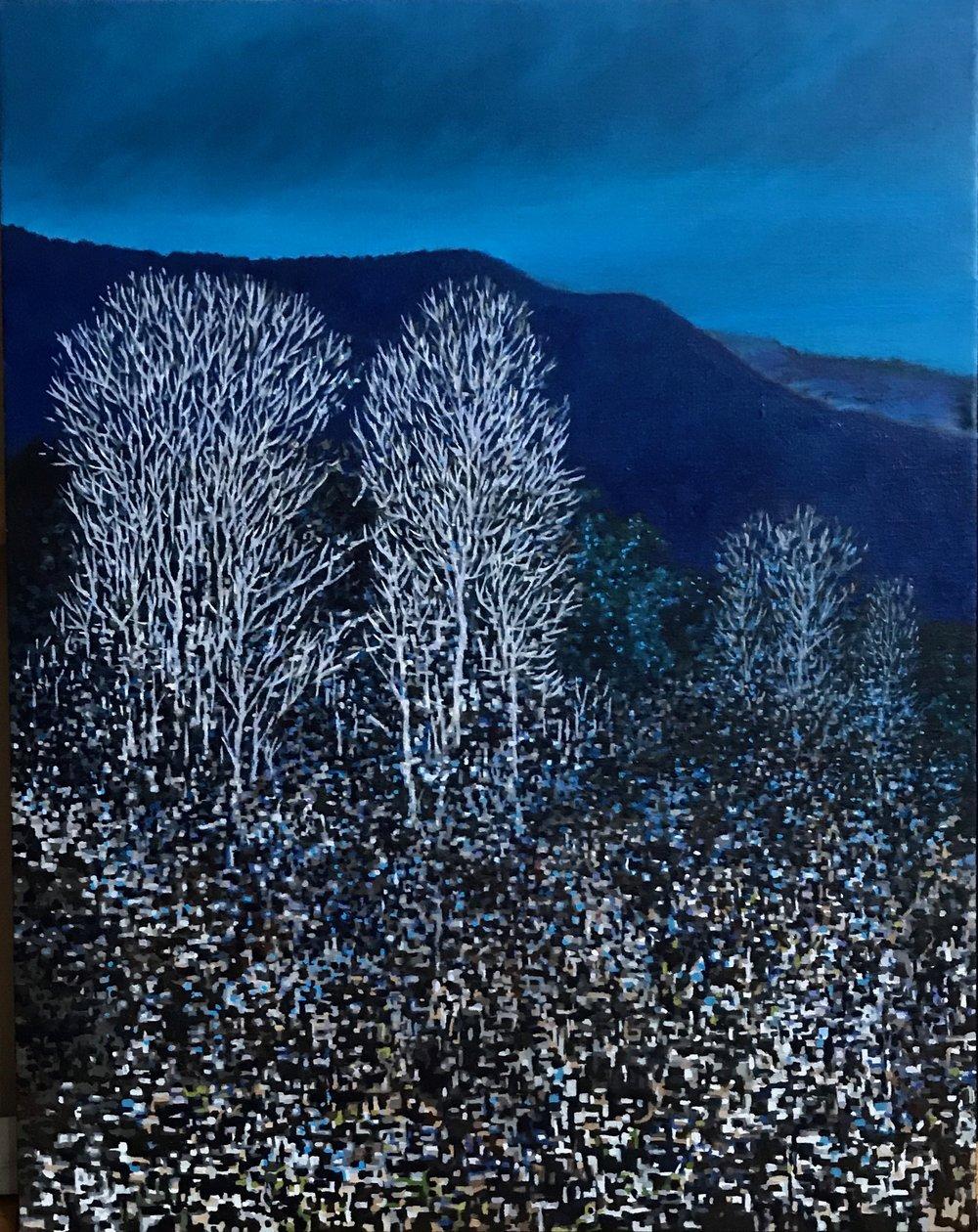 "Winter Moonlight, Oil on Linen, 18"" x 24"" 2017"