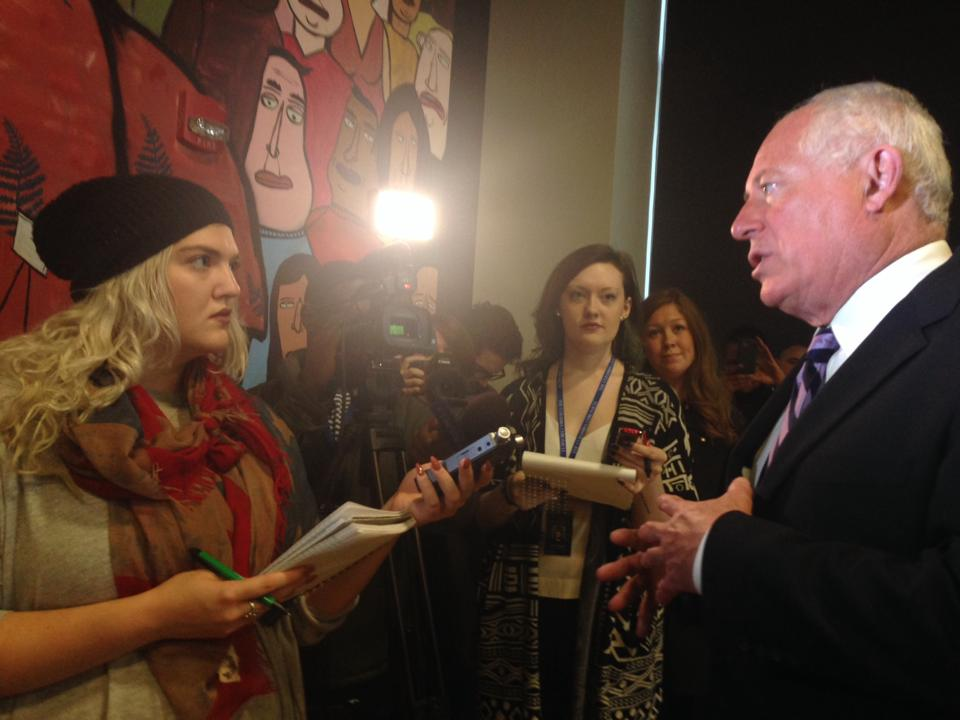 Interviewing Former Illinois Governor, Pat Quinn, during the 2014 Illinois Governors Race.