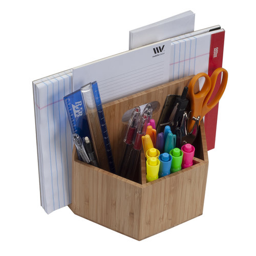 Bamboo Rotating Office Supply/Arts & Crafts Organizer Caddy ...
