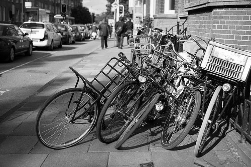 pile of bikes bw
