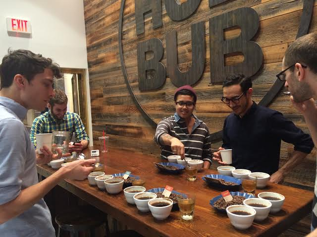 Some of the HubBub staff at a recent tasting with our friends from Stumptown Coffee