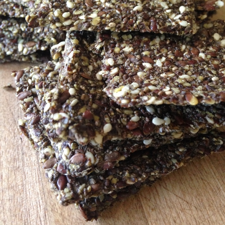 SEED CRACKERS - A delicious, crunchy seed cracker made with digestive herbs that can help cool gut inflammation. [*available by pre-order only]Ingredients~ .seeds [flax, chia, sunflower, sesame] .marshmallow root powder .milk thistle seed powder .green powder [nettle, spirulina, chlorella, maca, rose hips, hemp seed, beet root] .garlic powder .salt. $ 7Place order