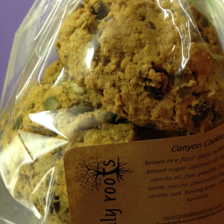 CANYON COOKIES - Energy packed cookies to keep you fueled from the canyons to the summits, or when you just need a treat!.wheat & nut freeIngredients~ .brown rice flour .oats .turbinado sugar .brown sugar .coconut oil .butter .egg .canola oil .flax .pepitas .sunflower seeds .raisins .chocolate chips .chia .vanilla .salt .baking soda .cinnamon .turmeric. $ 12Place order