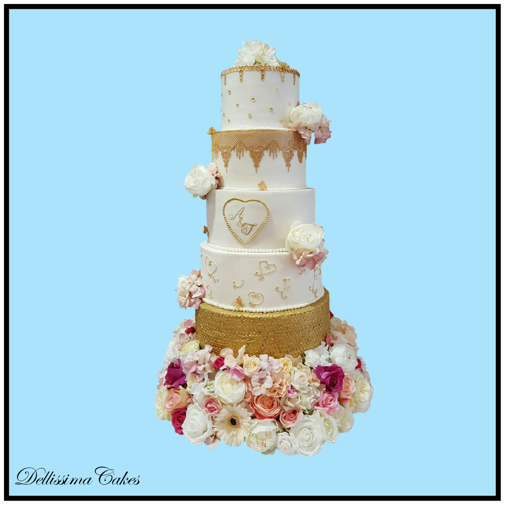 White And Gold Wedding Cake Dellissima Cakes