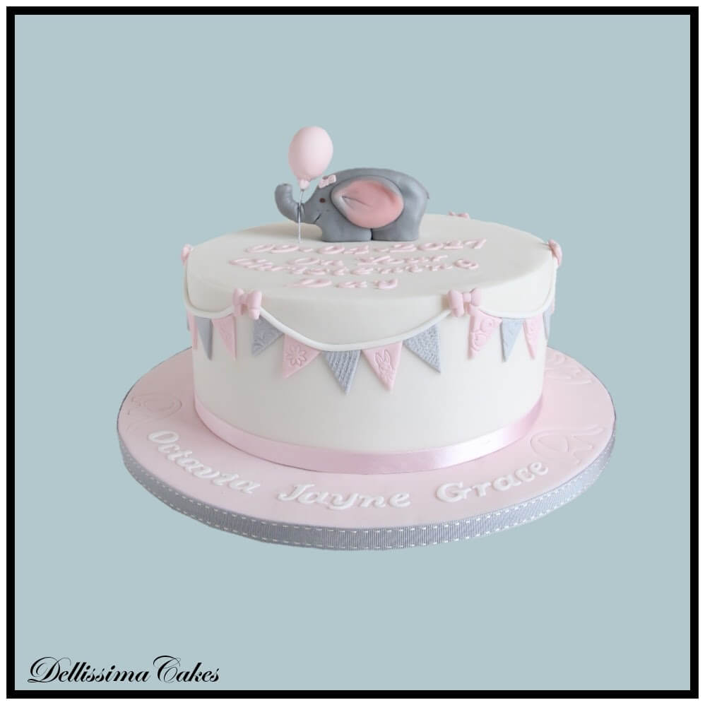 Cute Elephant Christening Cake