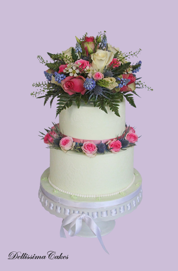 Floral Green Wedding Cake