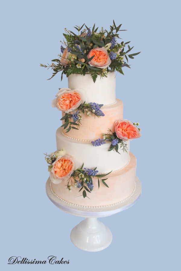 Floral Peach Wedding Cake