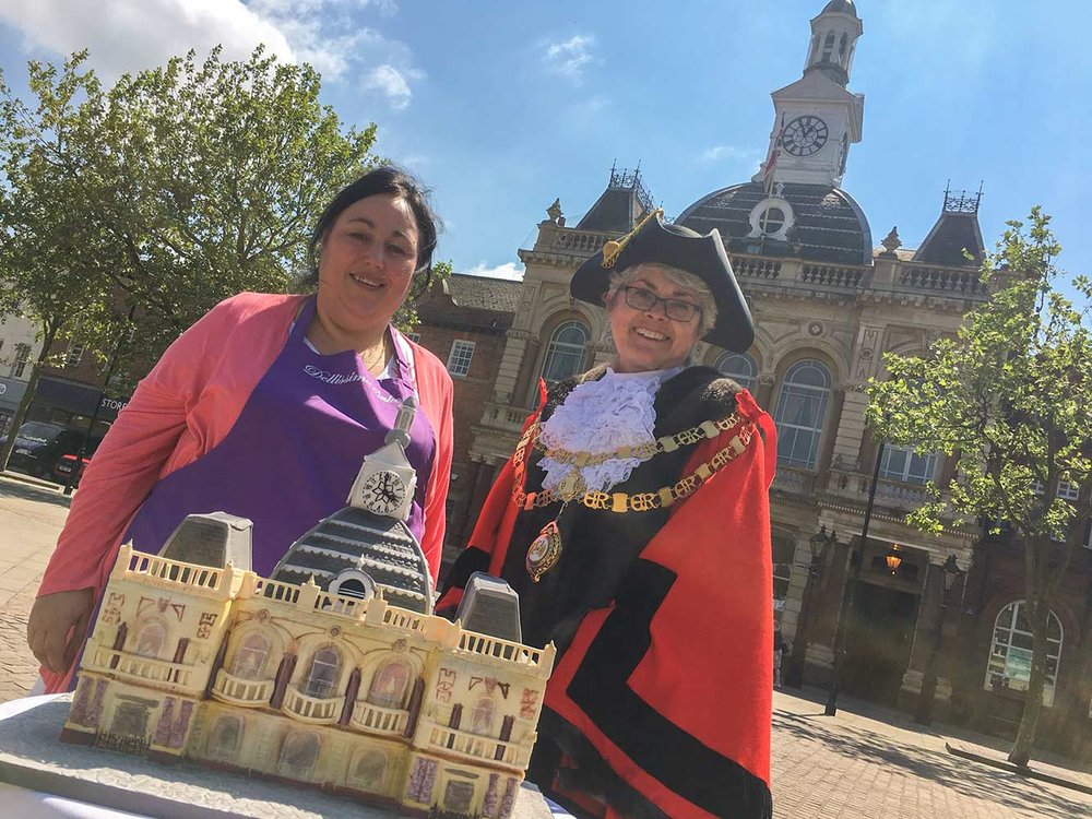Outside the Town Hall with Retford Mayor, Cllr Helen Richards