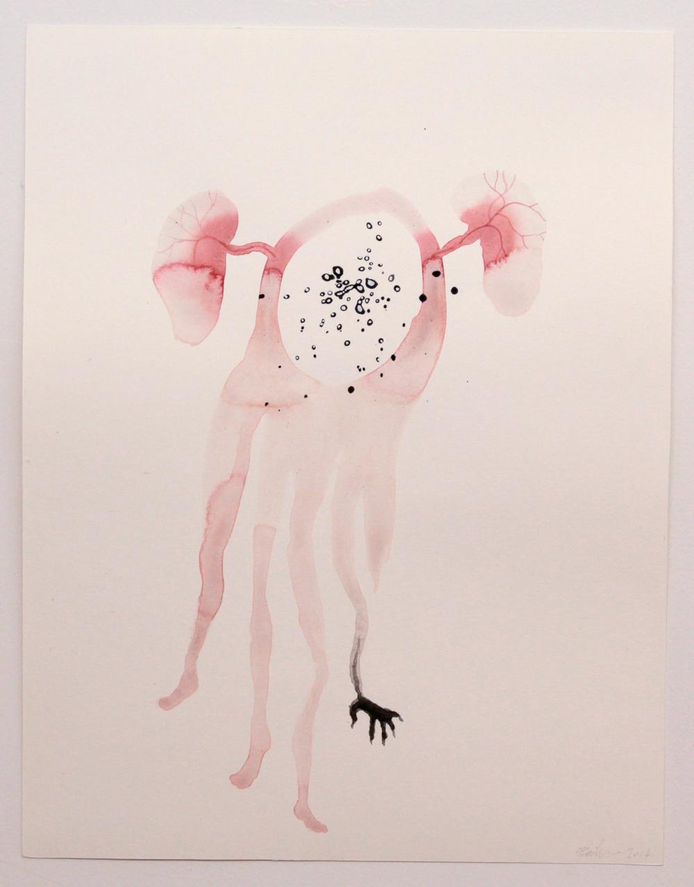 Du vent dans les oreilles, de l'eau dans les poumons, 2014 (detail) Aquarelle sur papier, Watercolor on paper 35cm X 27cm Photo : Caroline Boileau