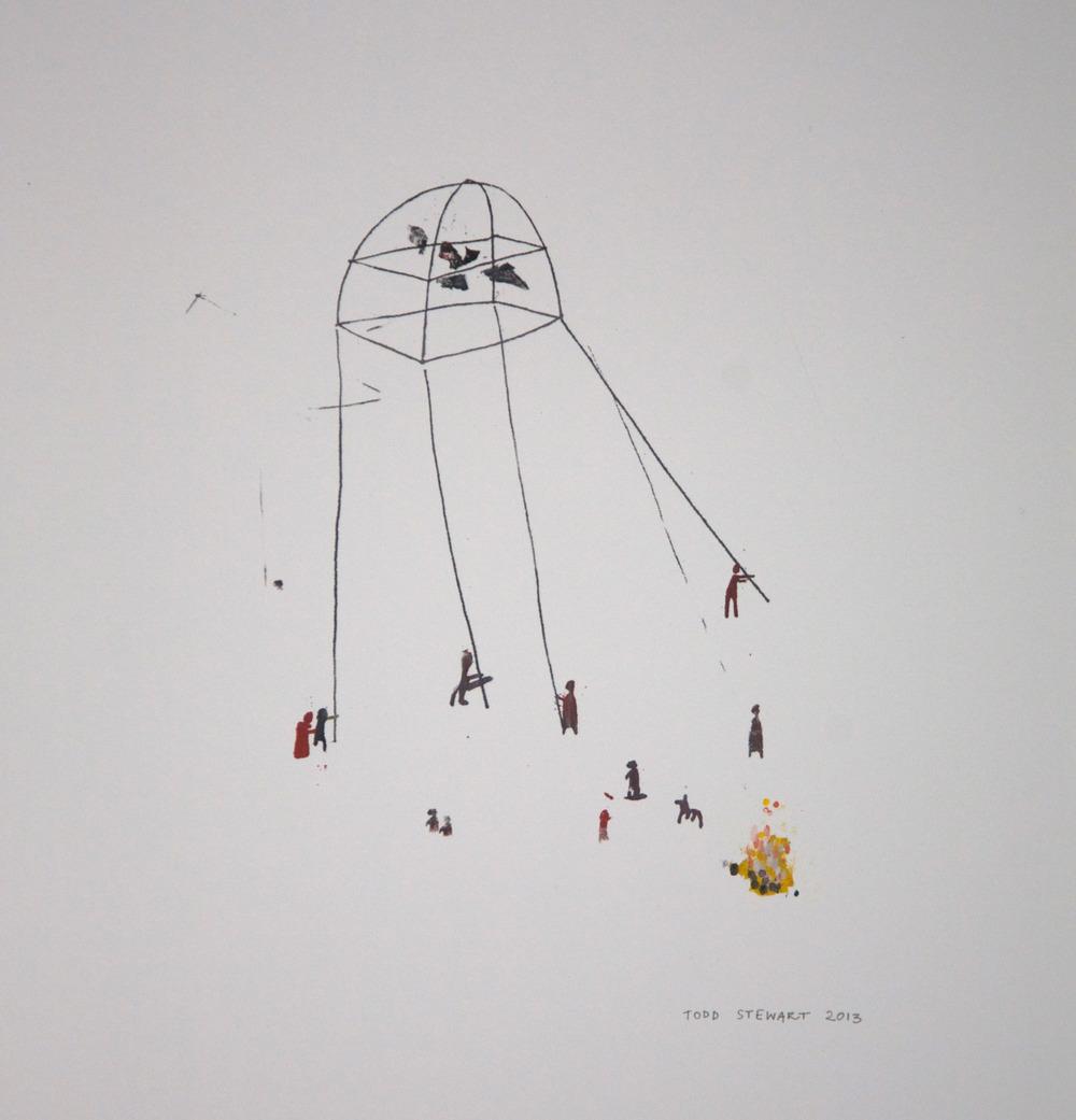 """Artwork by Todd Stewart.Working Together, 2013 10.5"""" x 14.5"""""""