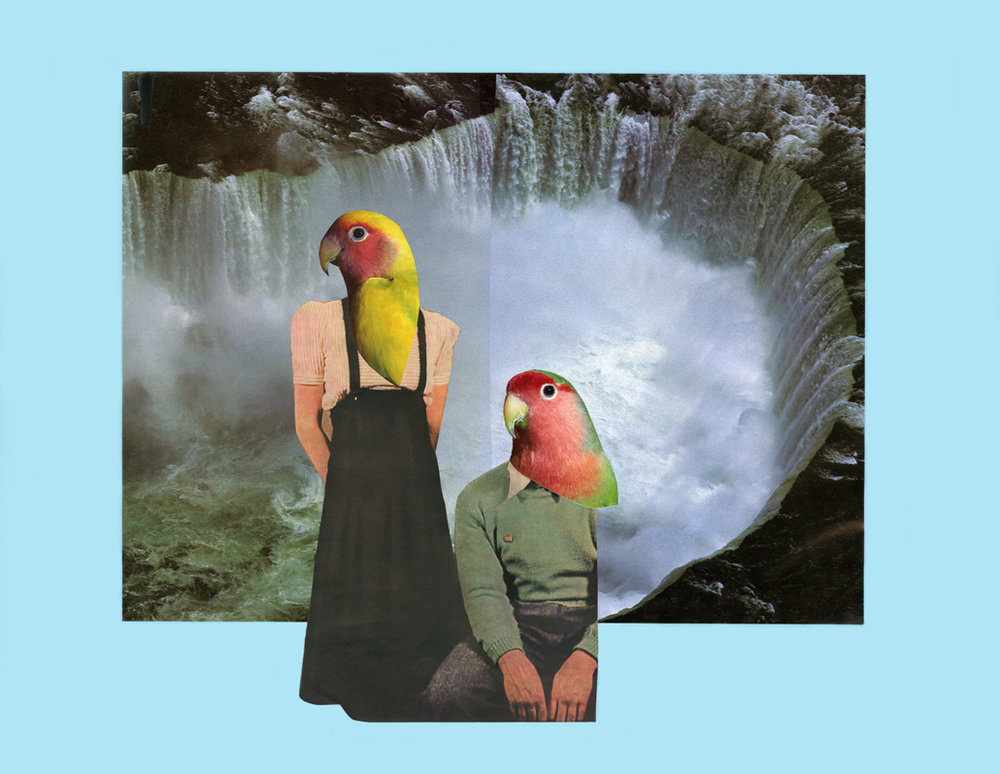 "Niagara Falls collage title: Maryse Larivière, ""You teach me to talk to the birds, you teach me love"", 2015, 30 x 26 Collage"
