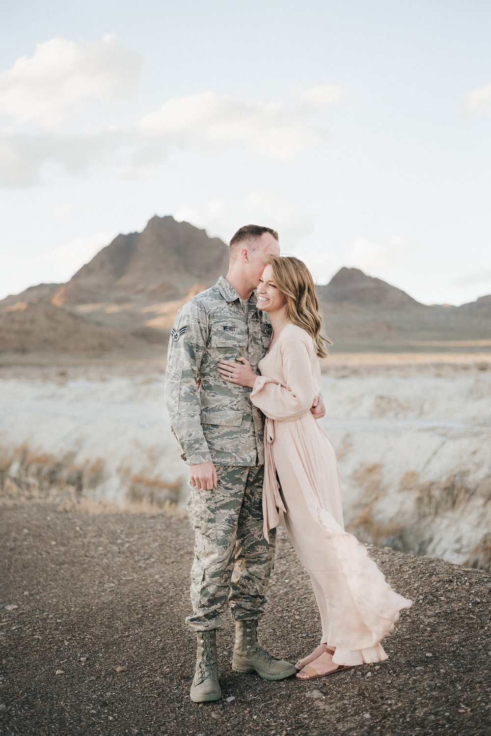 Utah Salt Flat Engagement - Military Fiance
