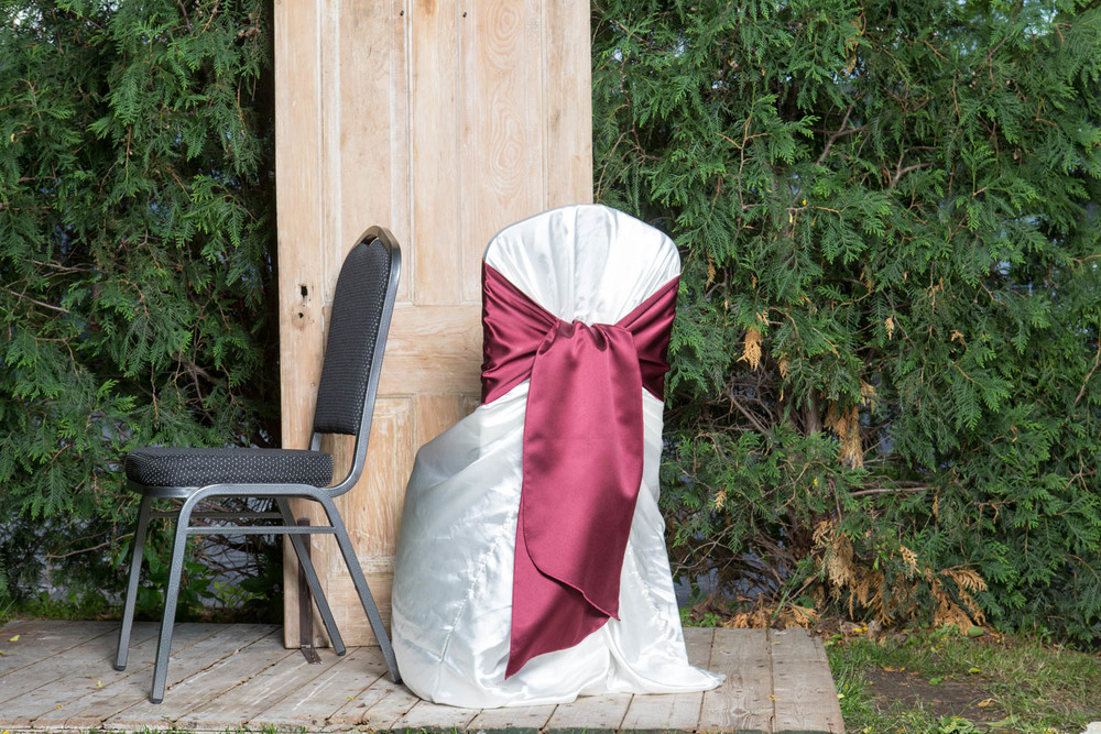 Satin Chair Cover with Sash 6-  White, Black, or Ivory.