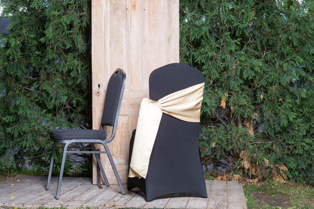 Spandex Chair Cover with Sash 5.50-  White, Black, or Ivory.