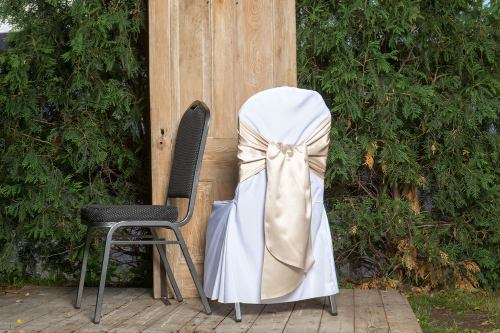 Poly Chair Cover with Sash 5.50-  White, Black, or Ivory.