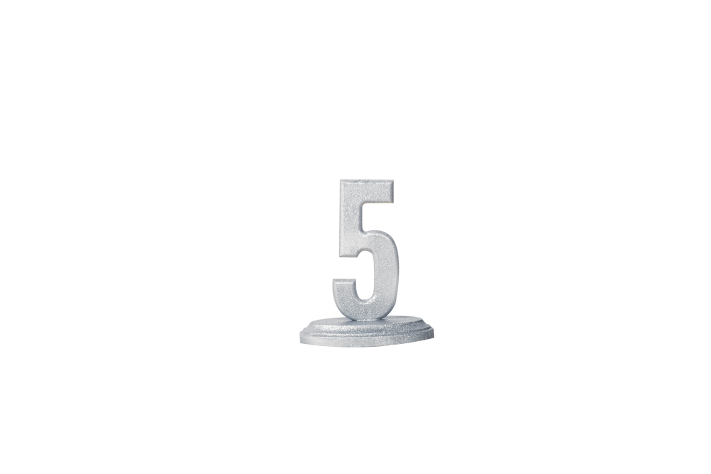 Silver Glitter Table Number 1.50-