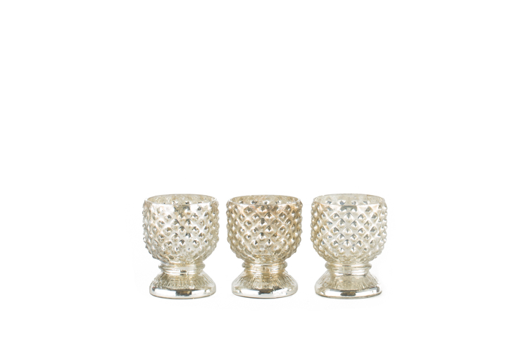 Studded Mercury Glass Votive .50-