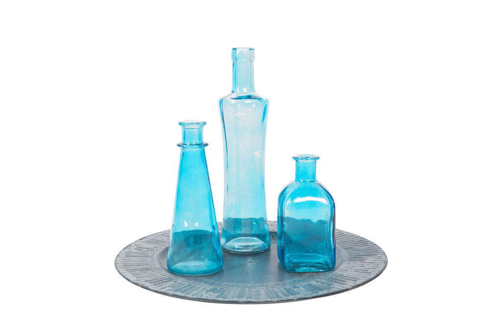 Turquoise Vintage Bottles .75
