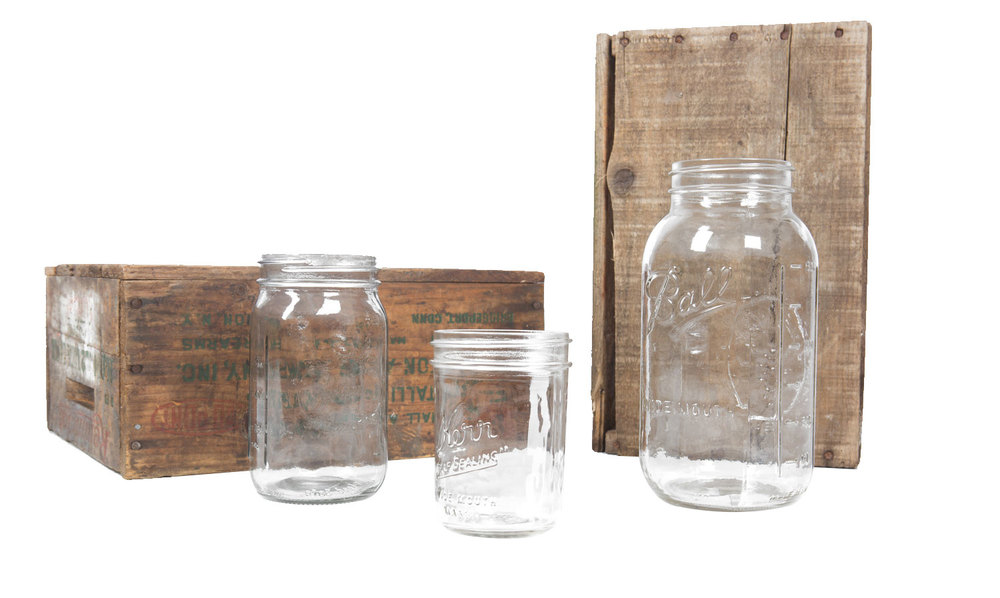 Pint Mason Jar .75, Quart Mason Jar 1-, 1/2 Gallon Mason Jar 1.50