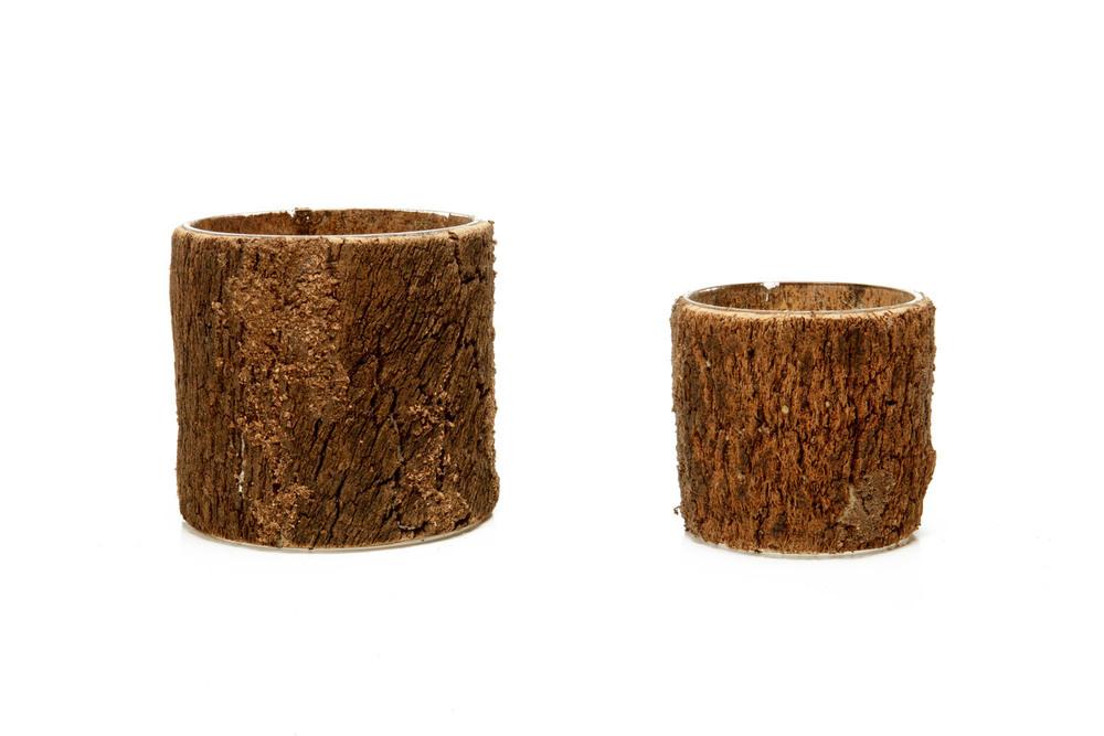 Wood Cylinder Vase lg 6-, sm 4-